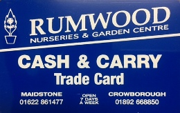 Rumwood Nurseries Cash and Carry Trade Card